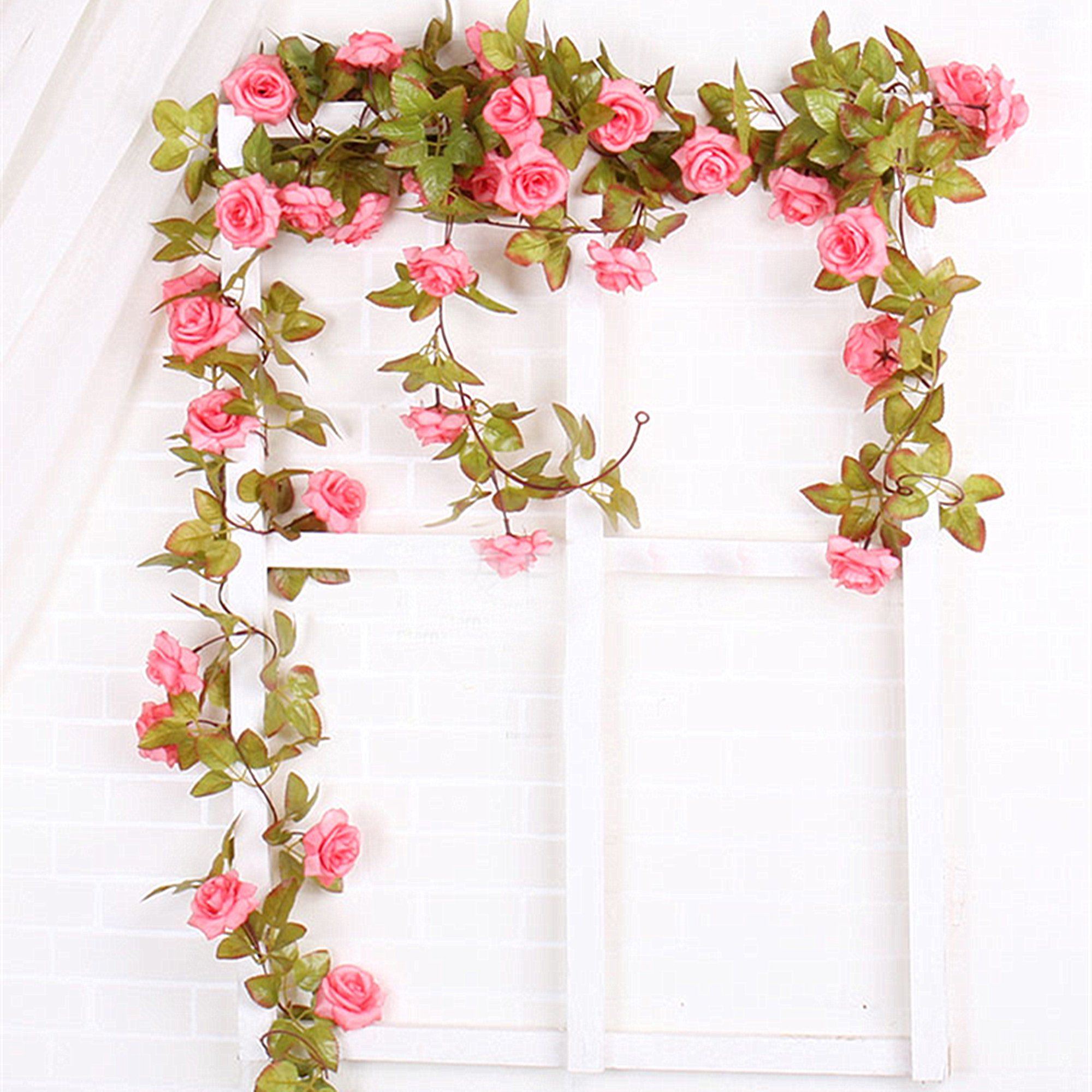 Felice Arts 2 Pack 11 Heads 7.2 Ft/pc Artificial Silk Fake Flowers Autumn Rose Vine Realistic Hanging Silk Rose Plants Wedding Home Party Arch Decor (Pink)