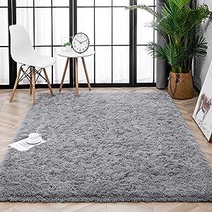 Lnoice Soft Fluffy Area Rugs for Bedroom, Indoor Grip Backing Living Room Shaggy Rug,Modern Shag Floor Carpet for Girls Room Dorm Nursery Home Decor Kids Rugs Play Mats (4x5.3 Feet, Grey)