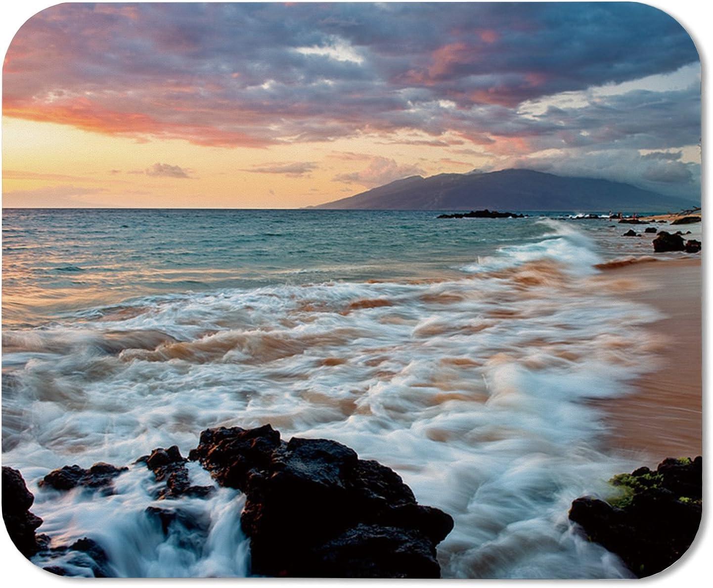 Wailea Makena Beach Maui Hawaii Beautiful Sunset Sea Waves Clouds Mouse Pad Mat