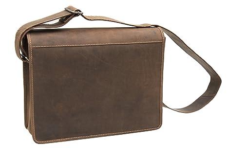 Wombat Urban Range - Bolso bandolera de piel marrón resistente para ordenador portátil