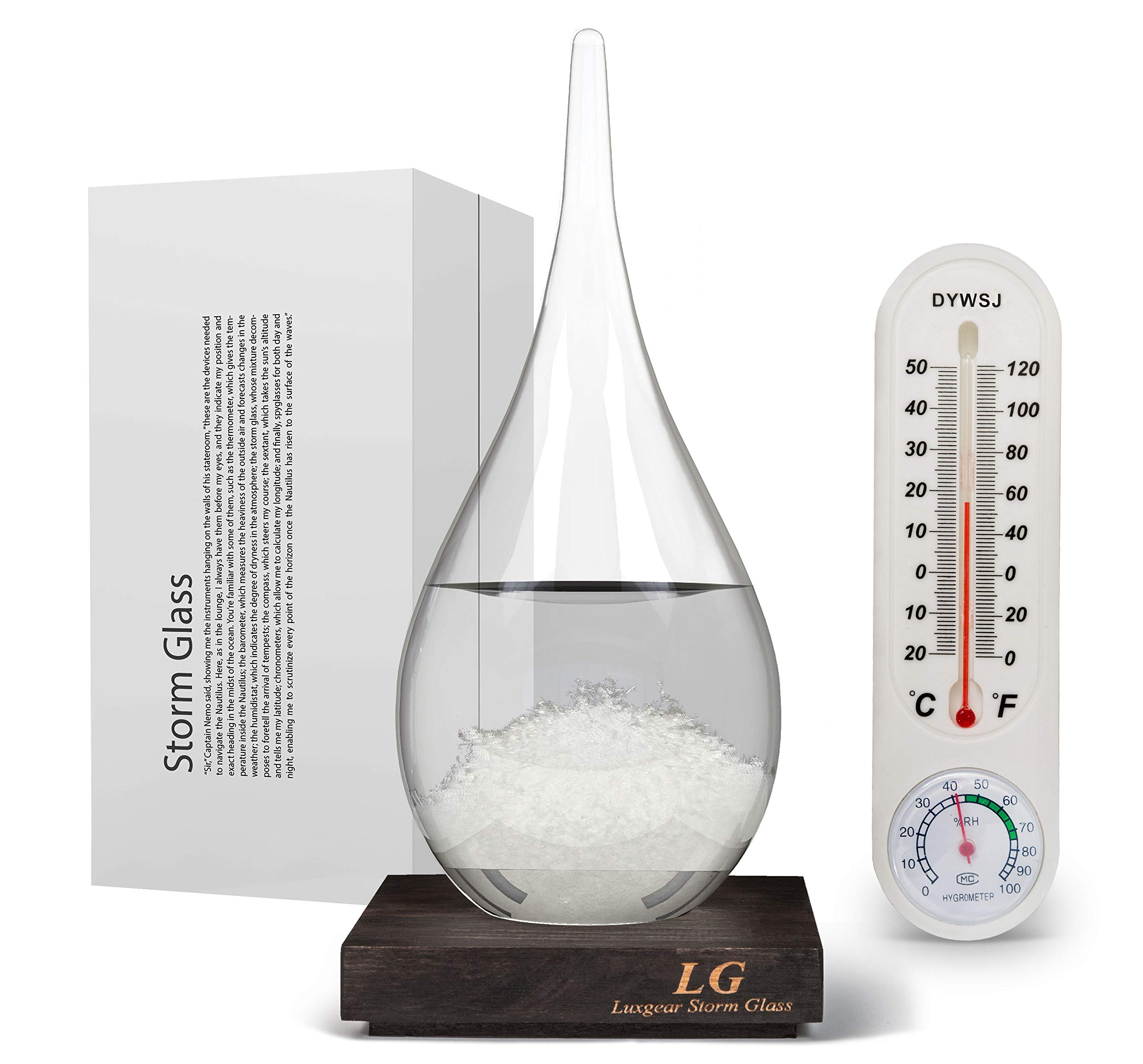 Storm Glass XL Bundle - 10 Inch Weather Predictor - Large StormTrack Forecast Crystal - Stylish Meteorological Glassware - Extra Large Stormglass Forecaster & Barometer - Teardrop Shape