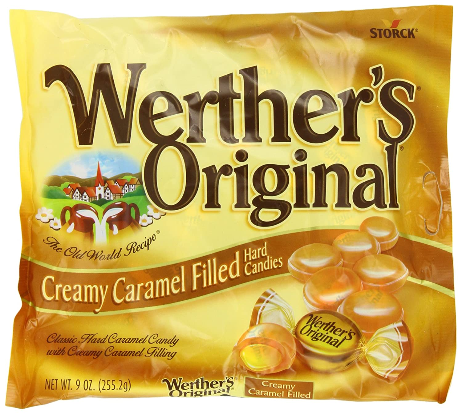 WERTHER'S ORIGINAL Creamy Caramel Filled Hard Candy, 9 Ounce, Individually Wrapped Candy Caramels, Caramel Candy Sweets, Bag of Candy