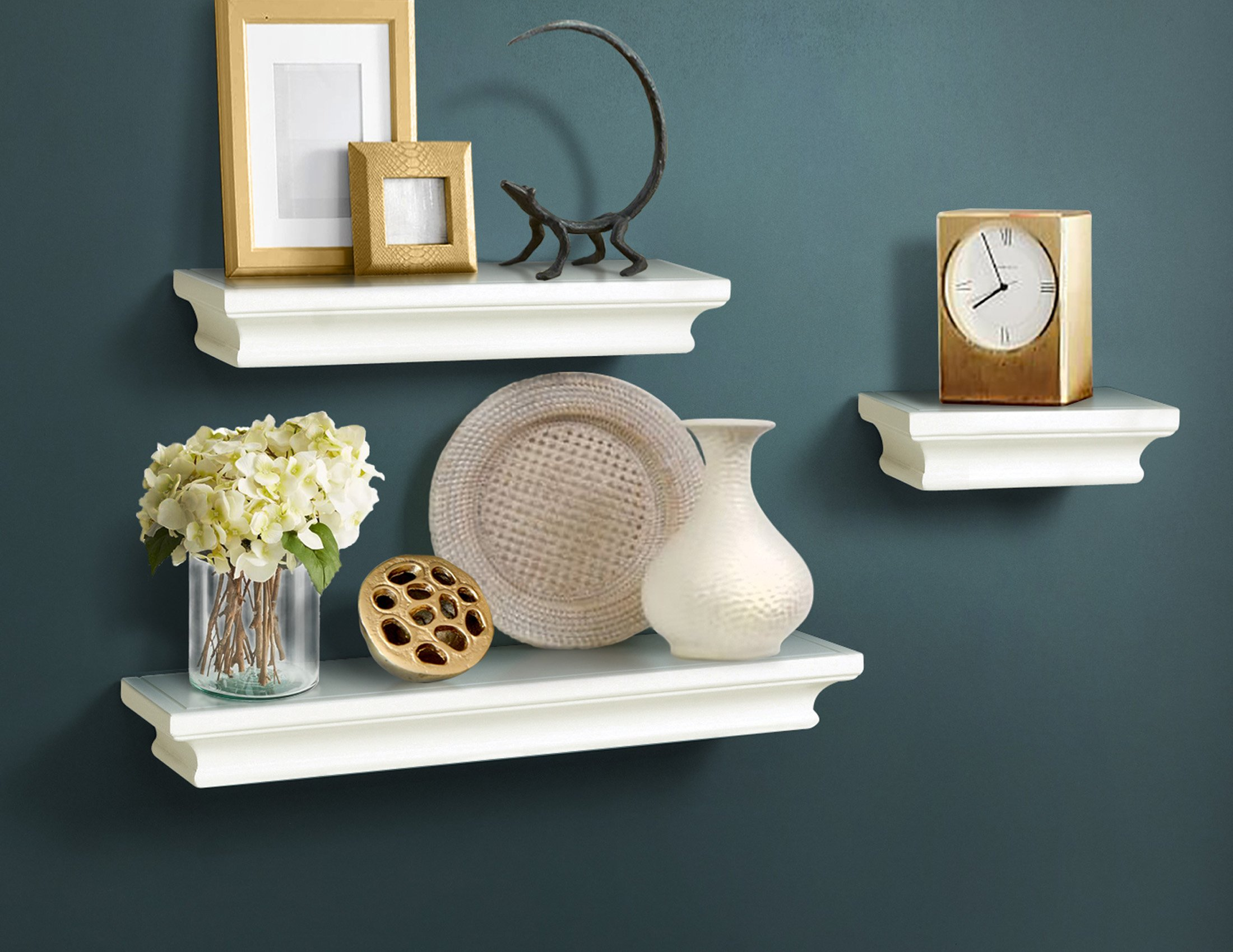 AHDECOR White Floating Shelves, Ledge Wall Shelf for Home Decor with 4'' Deep, Set of 3 pcs
