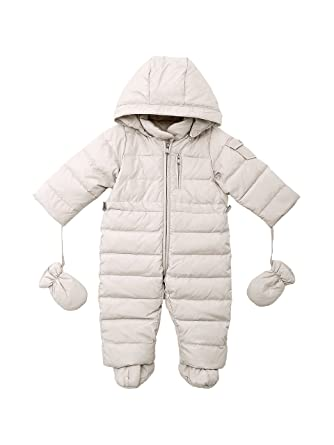 15654eba1 Oceankids Baby Boys Girls Beige Pram One-Piece Snowsuit Attached ...