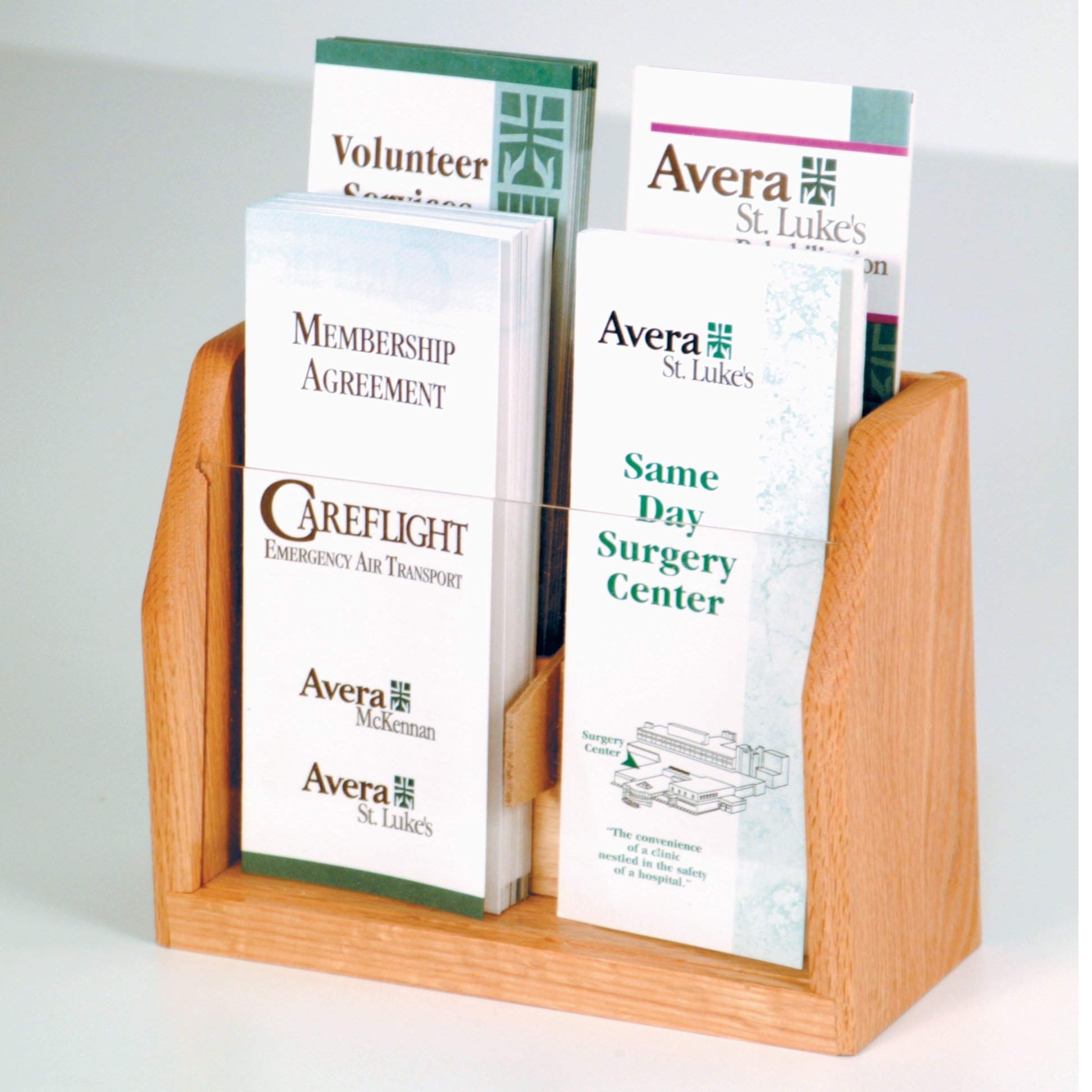 DMD Countertop Brochure Display, 4 Pocket Literature Rack with Light Oak Wood Finish