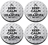 Keep Calm and Grandpa Will Fix It Coaster 4 Pack