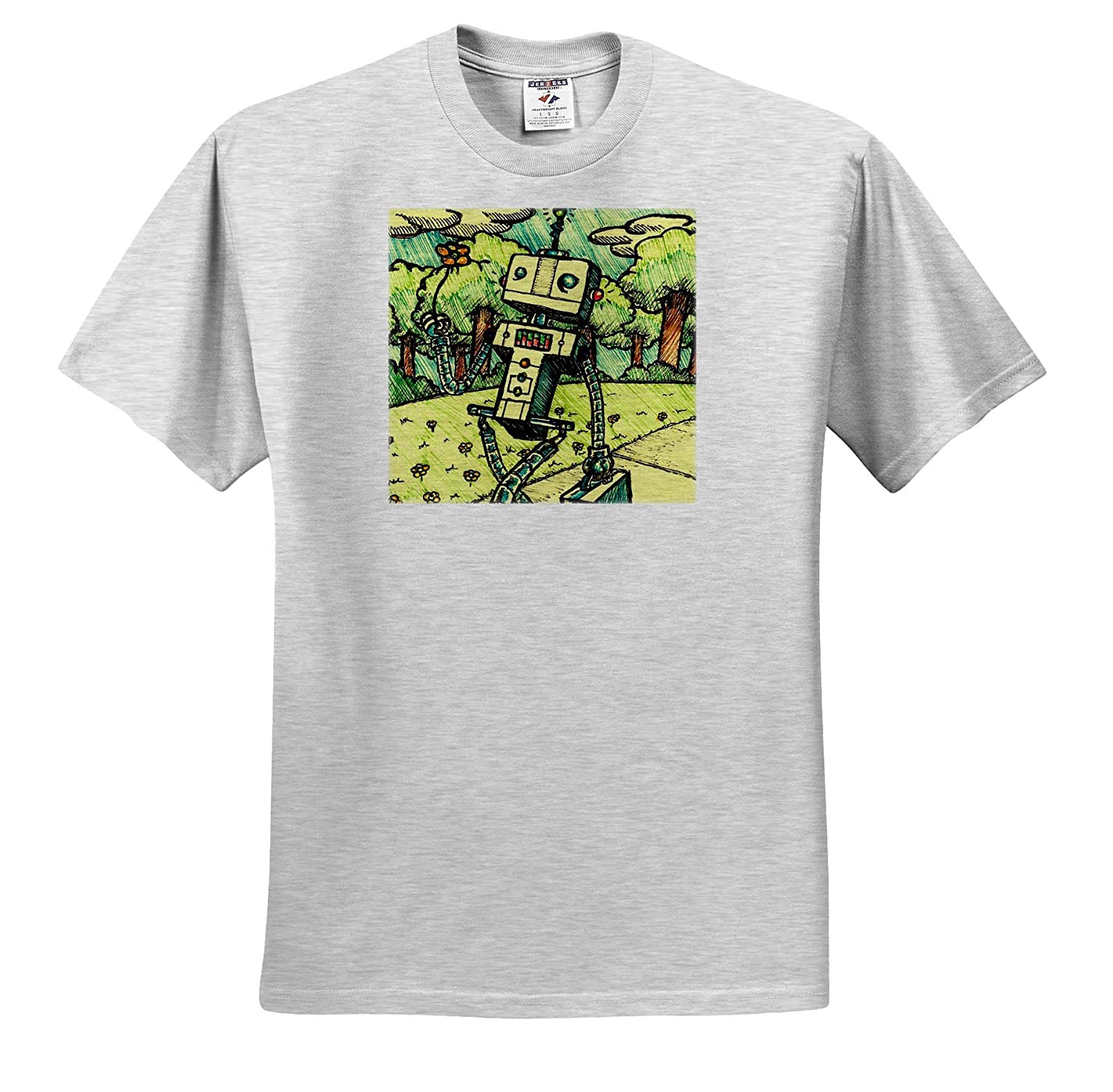 A Robot Holds a Flower While Walking Through The Park 3dRose Travis ECK Art Adult T-Shirt XL ts/_317499