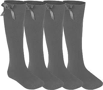 Calcetines con lazos para niña, hasta la rodilla, 4 pares, colores y tallas a elegir