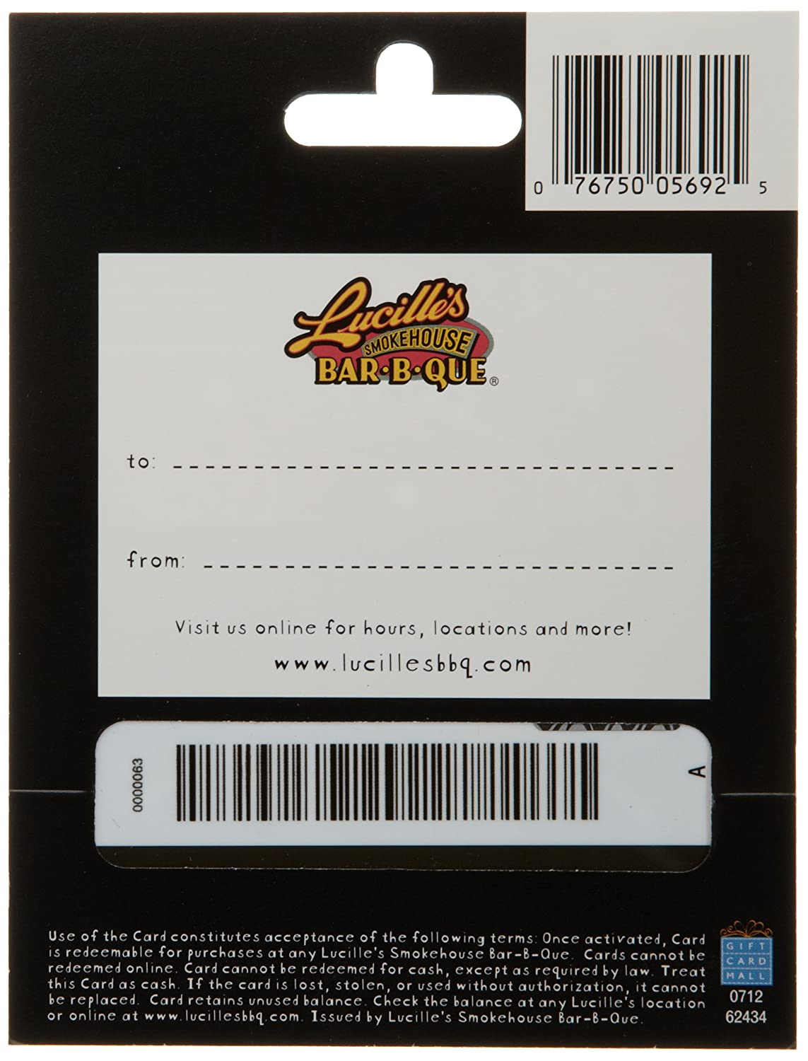 Amazon.com: Lucilles Smokehouse Bar-B-Q - Tarjeta de regalo ...