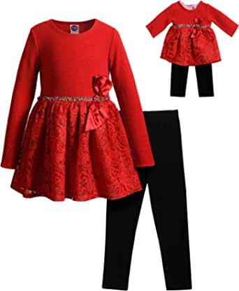 Dollie & Me Girls 5195808-109C Long Sleeve Sparkle Lace Dress and Legging with Matching Doll Outfit Long Sleeves Dress
