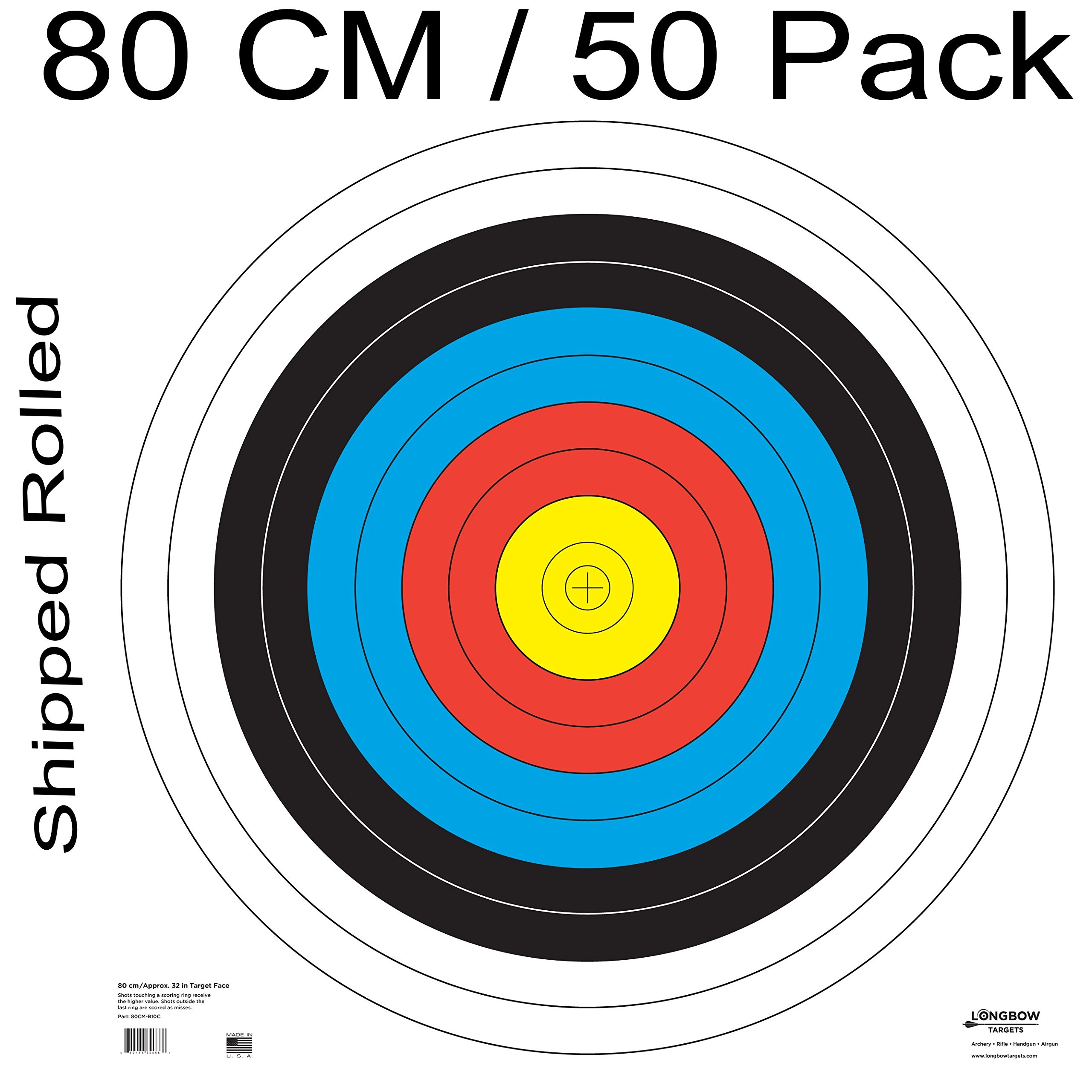 Archery 40cm & 80cm Targets by Longbow (50 pack, 80cm Archery Paper) by Longbow Targets