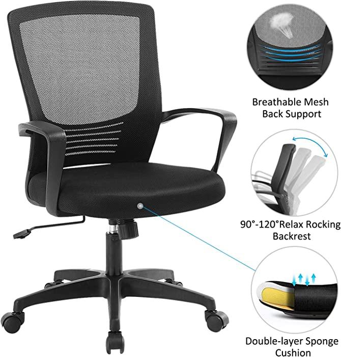 ZLHECTO Ergonomic Office Chair,Mid Back Mesh Chair Black,Computer Desk Chair with Adjustable Height and Mesh Rocking Back,Weight Hold Up to 250Ibs-Adjustable Chair for Conference Room-5 Years Warranty