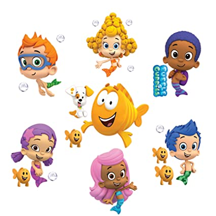 Bubble Guppies Set of 8 Removable Wall Stickers 10u0026quot; Inch Bubble Guppies  sc 1 st  Amazon.com : bubble guppies wall decals - www.pureclipart.com
