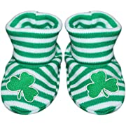 Irish Shamrock Newborn Baby Striped Bootie Sock