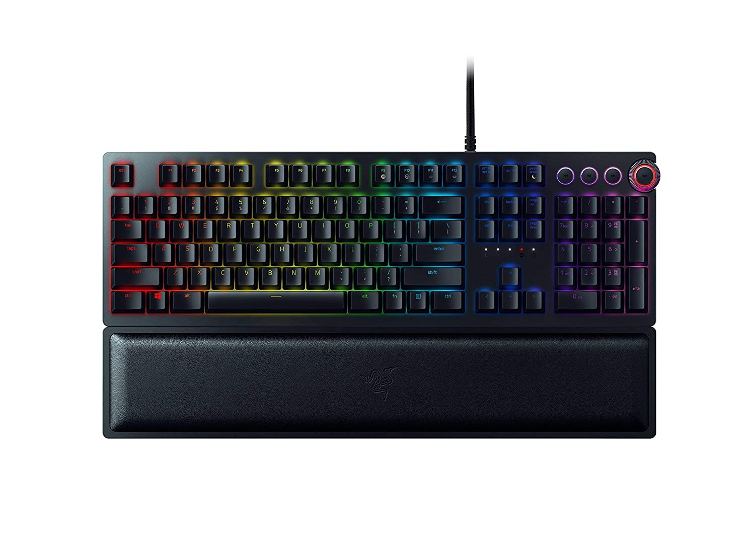RAZER HUNTSMAN ELITE Opto-Mechanical Switch – Multi-Functional Digital Dial Media Keys – Leatherette Wrist Rest – 4-Side Underglow – Gaming Keyboard Renewed