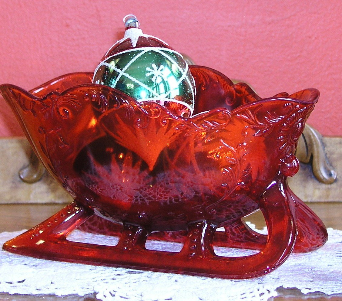 Vintage Solid Ruby Red Glass Holly Embossed Table Top Sleigh