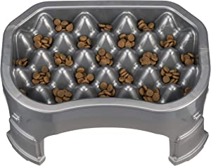 Neater Pet Brands – Neater Raised Slow Feeder Dog Bowl – Elevated and Adjustable Food Height - (6 Cup, Gunmetal)
