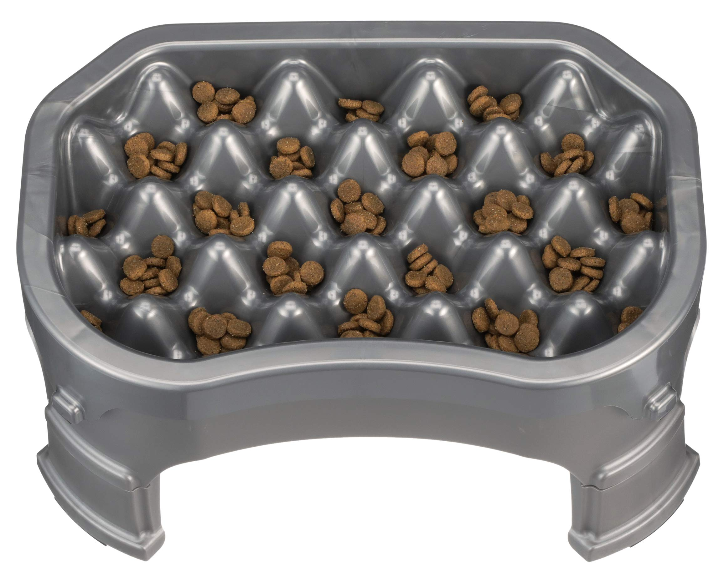 NEATER PET BRANDS - Neater Slow Feeder & Accessories - Gentle Slow Feeding Bowl for Dogs and Cats - Gunmetal Color - Non Skid Feet (Neater Slow Feeder + Big Bowl Base + Legs, Gunmetal)