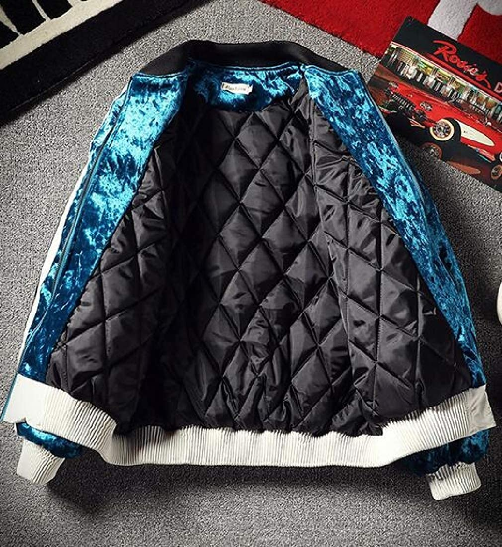 WAWAYA Mens Pleuche Thicken Stand Collar Thermal Quilted Jacket Coat Outerwear