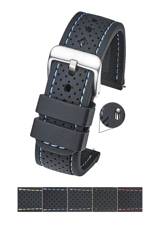 プレミアム品質パッド入りSmooth andソフトシリコンステッチWatch Band withスチールクイックリリースばねbars( Fits手首サイズ6 1 / 4 to 8インチ – 22 mm & 24 mm 24MM ブラック/ブルー 24MM|ブラック/ブルー ブラック/ブルー 24MM B079Y3KYQ4