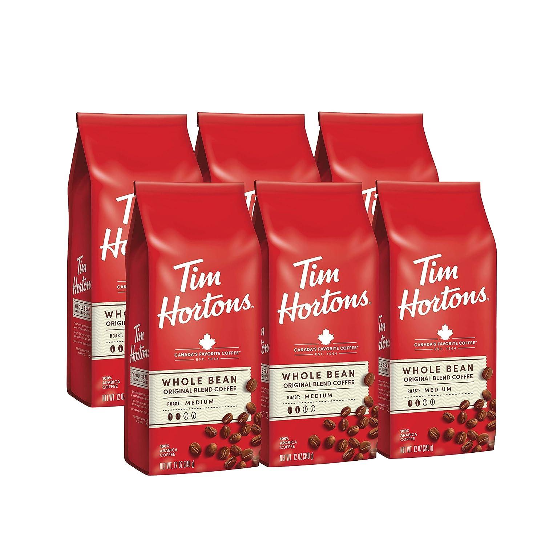 Tim Hortons Whole Bean Original, Medium Roast Coffee, Made with 100% Arabica Beans, 12 Ounce Bag, 6-Pack