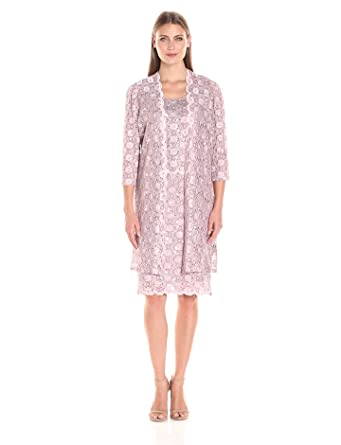 R&M Richards Women's Scalloped Lace Dress with Long Jacket at ...