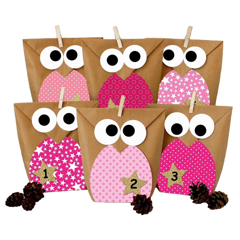 DIY Advent calendar - Christmas owls pink – Advent calendar for making and filling PAPIERDRACHEN
