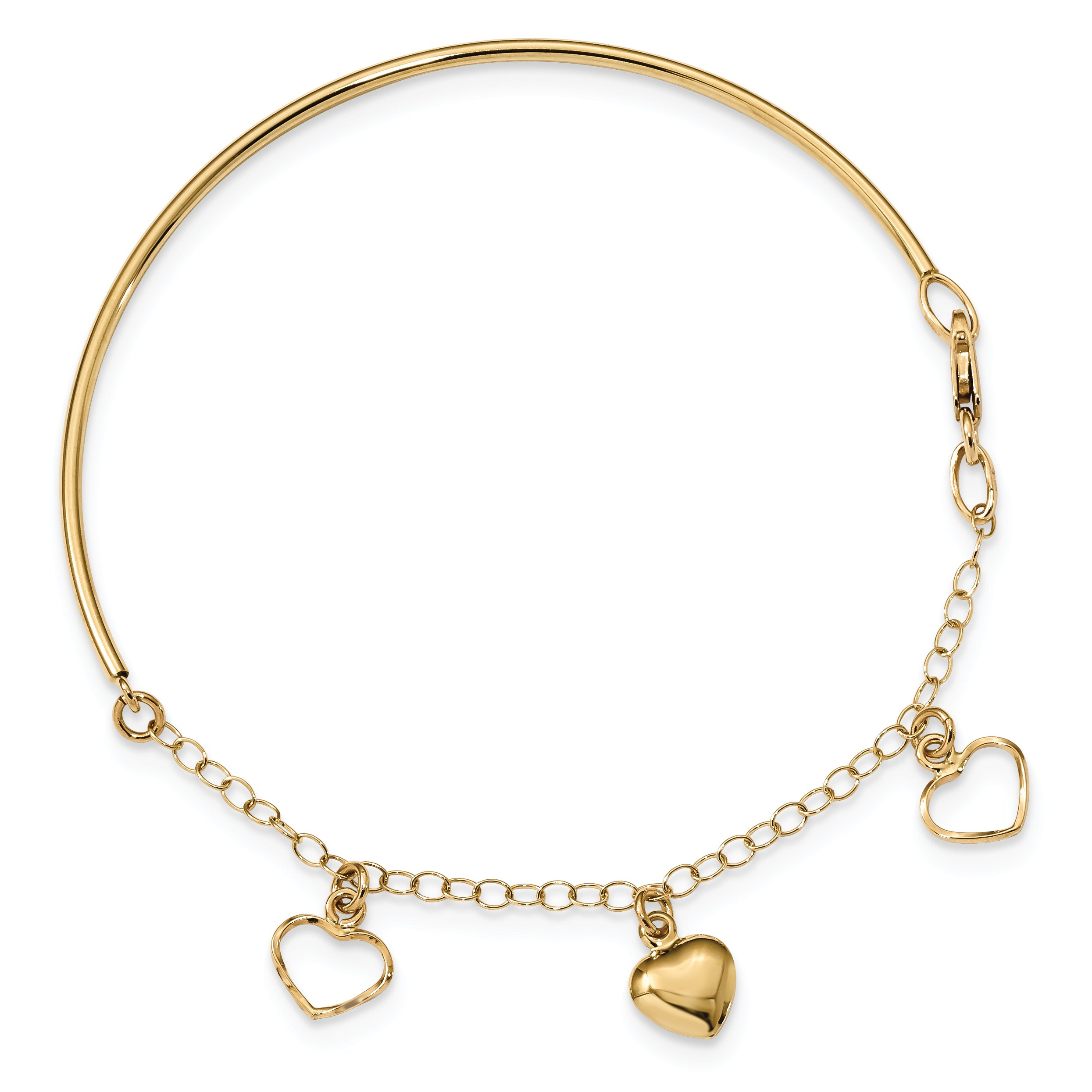 ICE CARATS 14k Yellow Gold Dangle Heart Bracelet Chain Bangle 7 Inch Fine Jewelry Gift Set For Women Heart