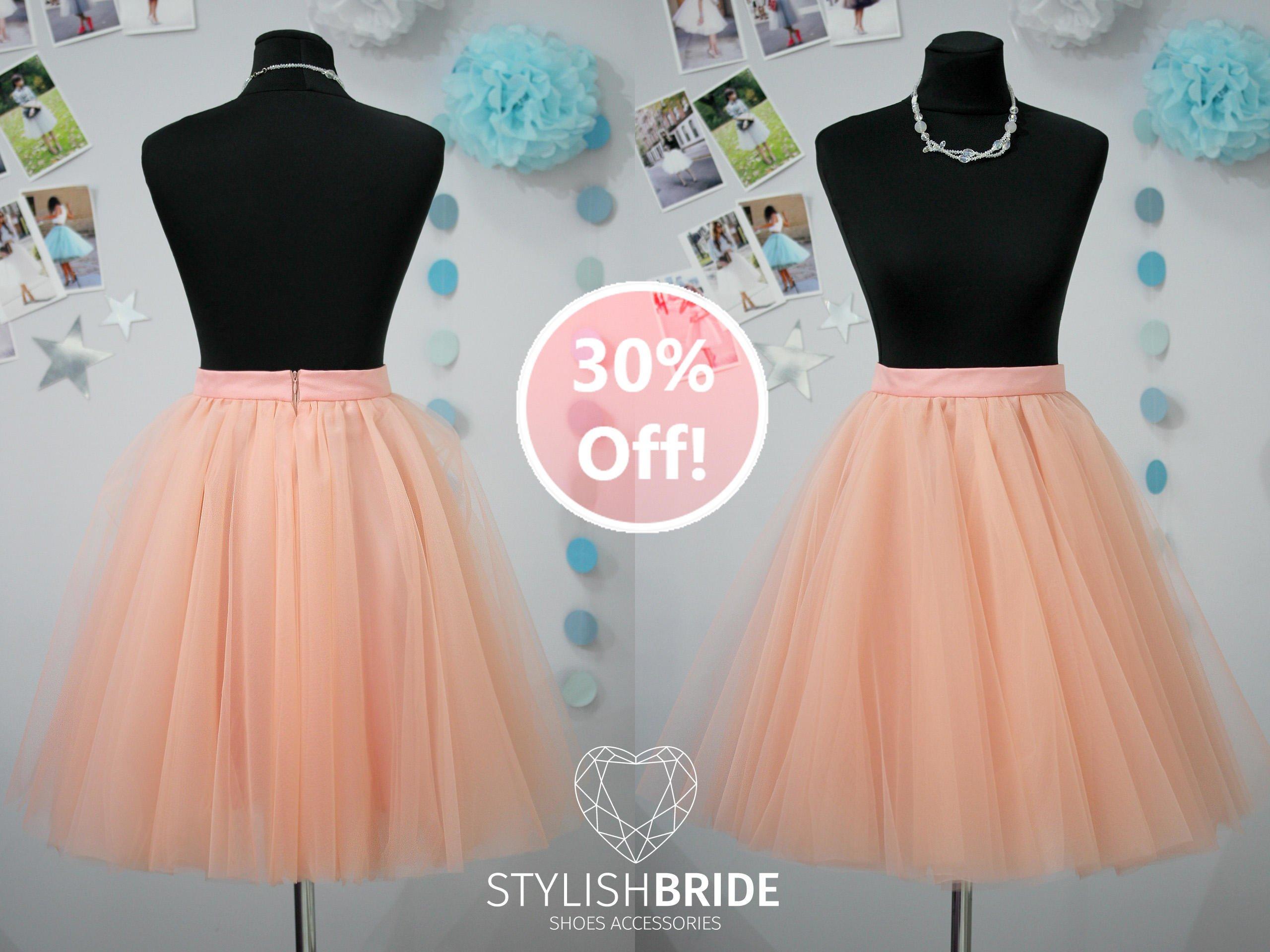 83 Sun Flared Super Lush Soft Peach Tulle Skirt for Women, Midi Tulle Skirt, Tulle Skirt Adult, Wedding Bridesmaid Skirt, Engagement Skirt