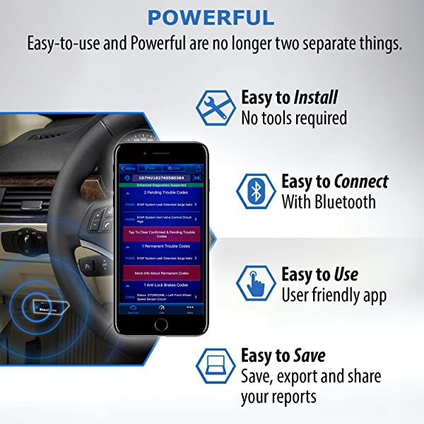 You can immediately mail the report via your smartphone directly to your regular car mechanic to save time and money.