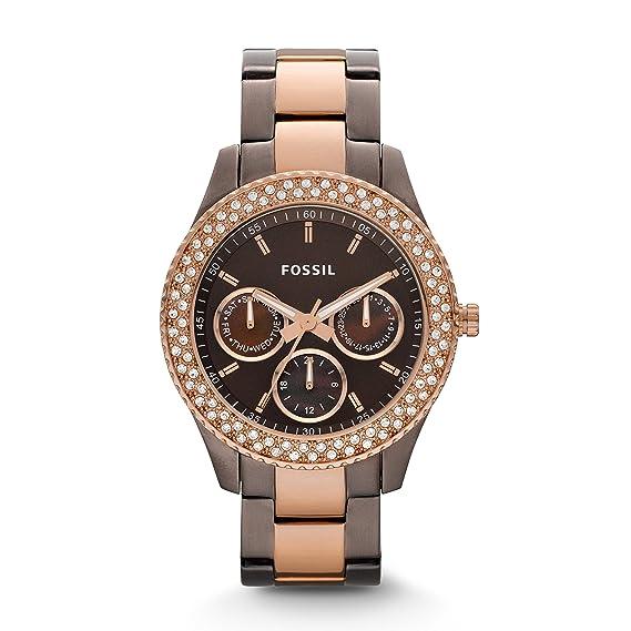 Fossil Stella ES2955 - Reloj analógico de cuarzo para mujer, correa de acero inoxidable chapado