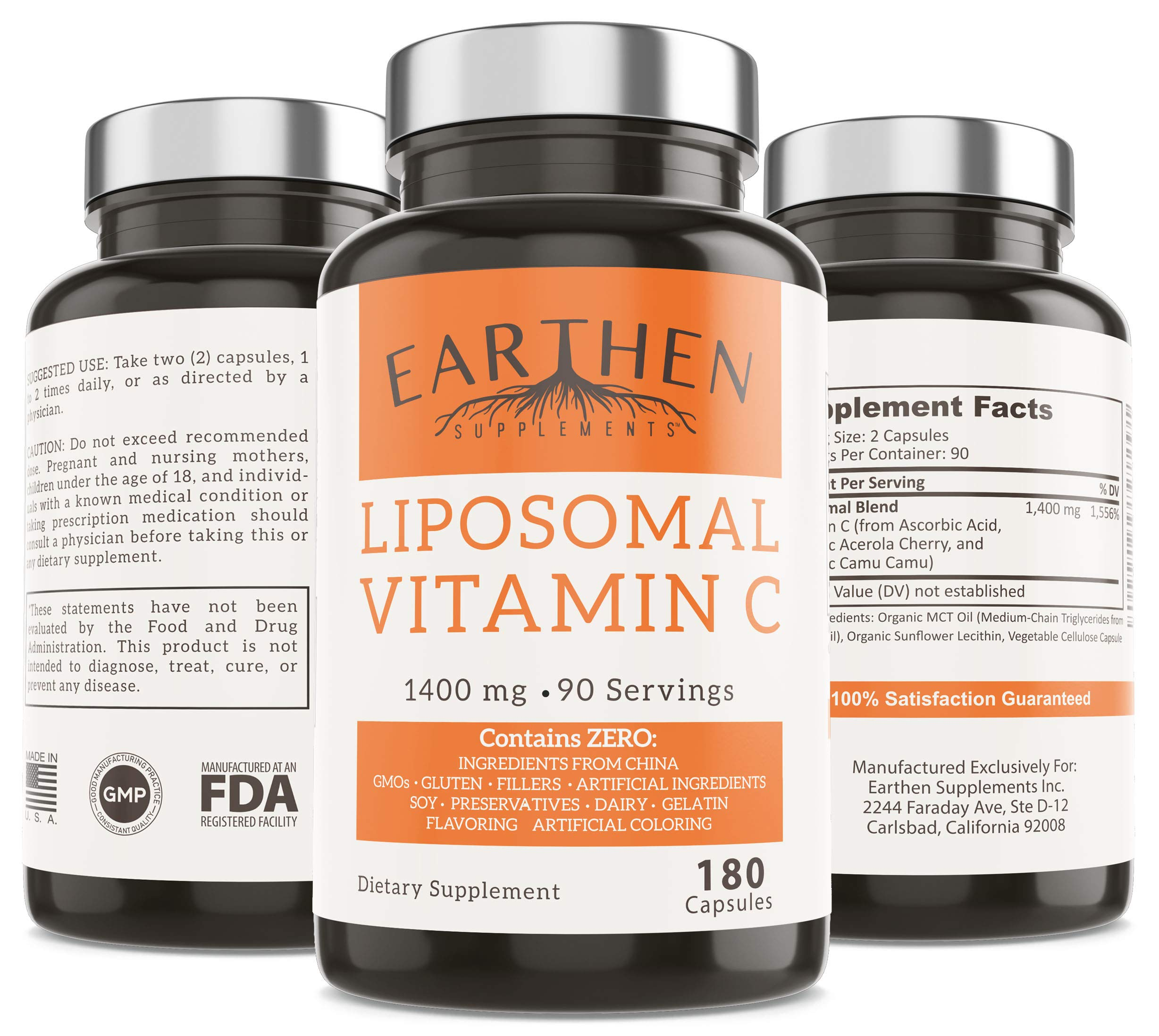 Liposomal Vitamin C 1400MG Per Serving 180 Capsule 90 Serving | China Free Non GMO Fat Soluble High Absorption Antioxidant Immune System Support by EARTHEN supplements