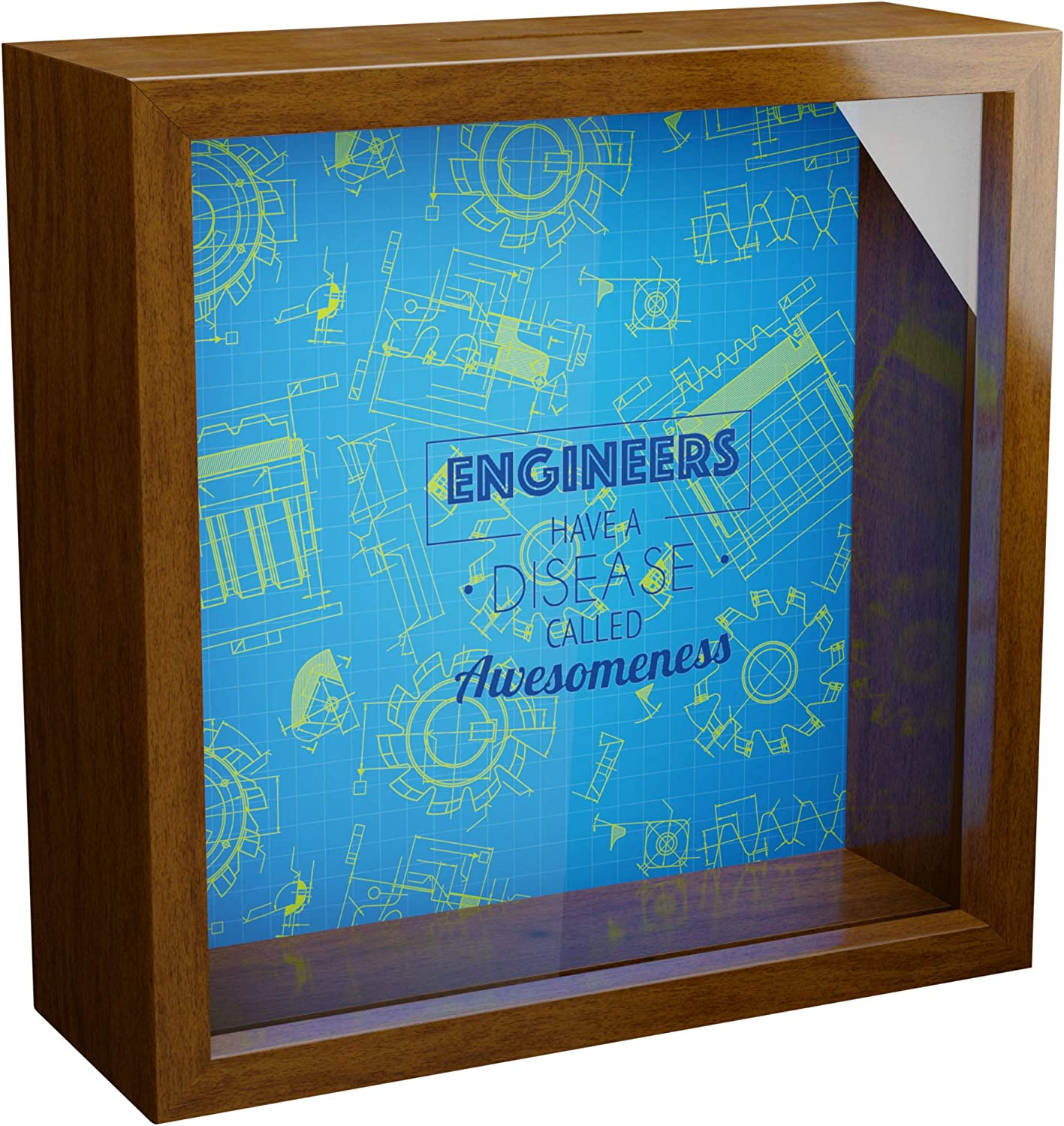 Engineer Gifts | 6x6x2 Memorabilia Shadow Box with Glass Front | Framed Wooden Gift for Engineers | Engineering Wall Decor Frame | Themed Keepsake Box | Ideal to Collect Special Items