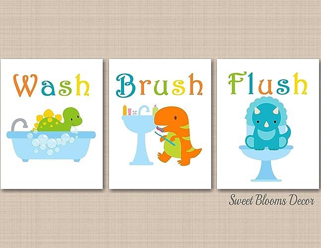 Dinosaur Bathroom Wall Art Decor Blue Green Orange Kids Baby Boy