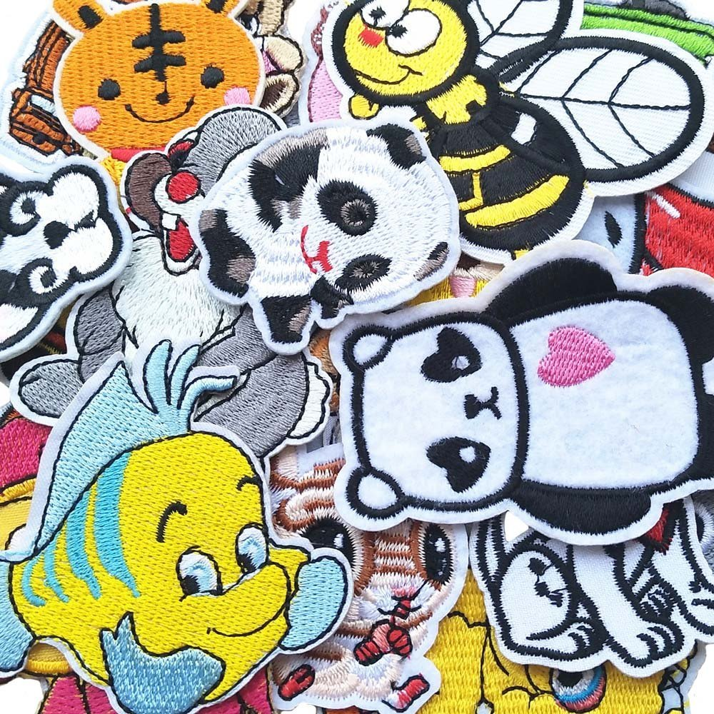 Assorted 48pcs Qingxi Charm 48pcs Random Assorted Styles Sewing on//Iron on Embroidered Patches Clothes Dress Hat Pants Shoes Curtain Sewing Decorating DIY Craft Embarrassment Applique Patches
