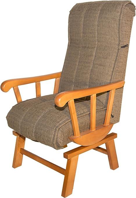 Abitti Sillón balancín de Madera Maciza tapizado marrón para ...
