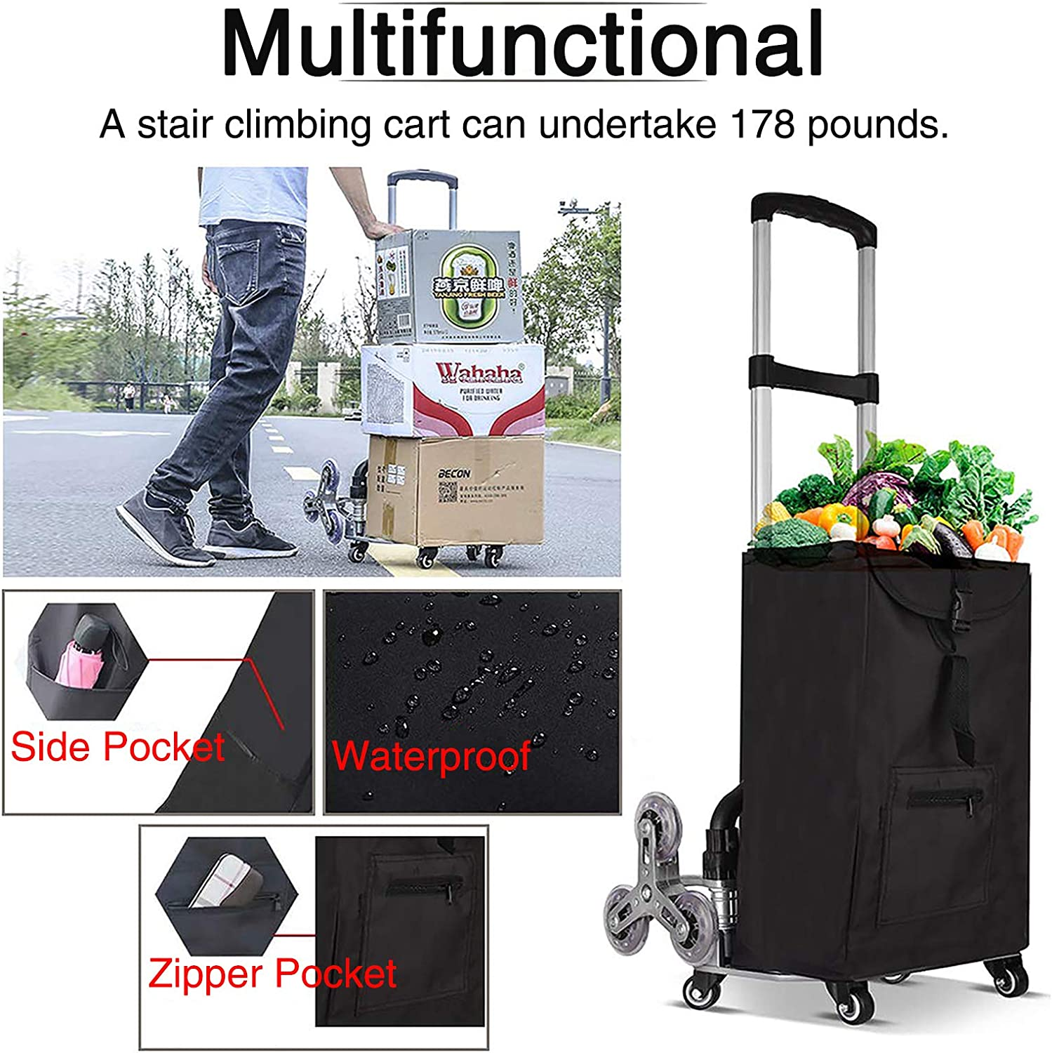 Stair Climbing Cart WOQED Stair Cart Folding Hand Truck Aluminum Alloy 10-Wheel Trolley Folding All Terrain Lightweight Hand Truck Quiet Large Tires with Bag Required Luggage Moving Outdoor
