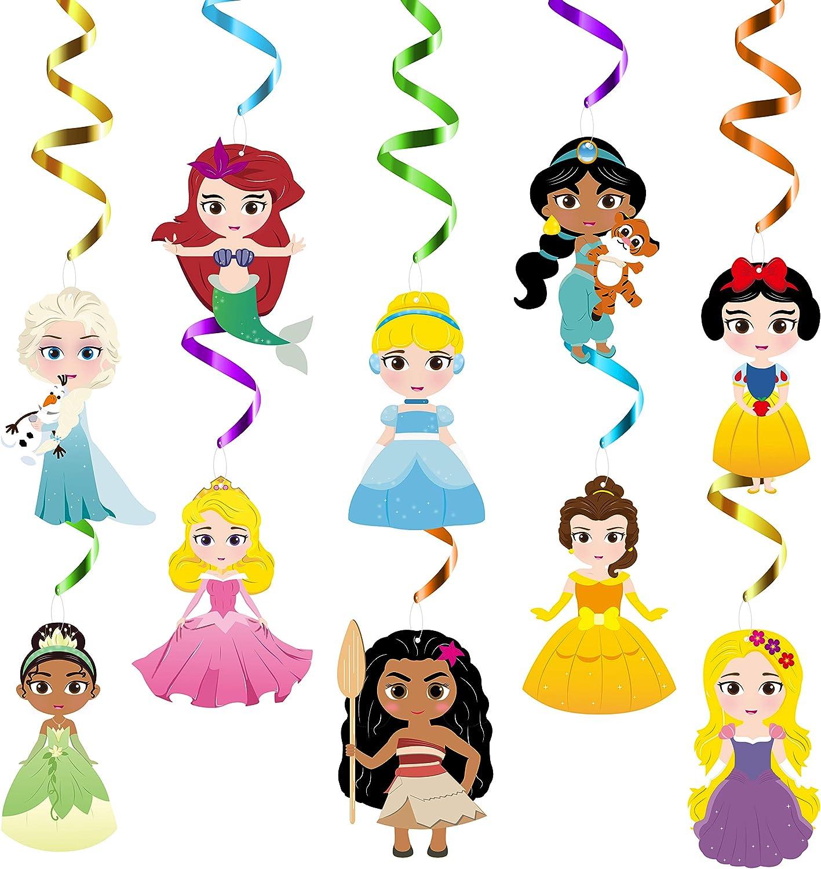 30Pcs Princess Swirl Decorations Birthday Party Supplies Ariel Cinderella Elsa Bella Jasmine Royal Cartoon Theme Designed Hanging Whirl Streamers Ceiling Spiral Room Decor Favors for Kids Girls