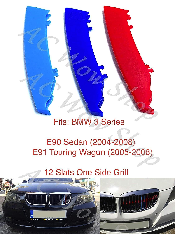 kompatibel mit B M W 3er-Reihe E90 E91 2004-2008 12 Stangen Motorhaube K/ühlergrill Streifen Abdeckung M Performance Power Sport Tech Paket Abzeichen