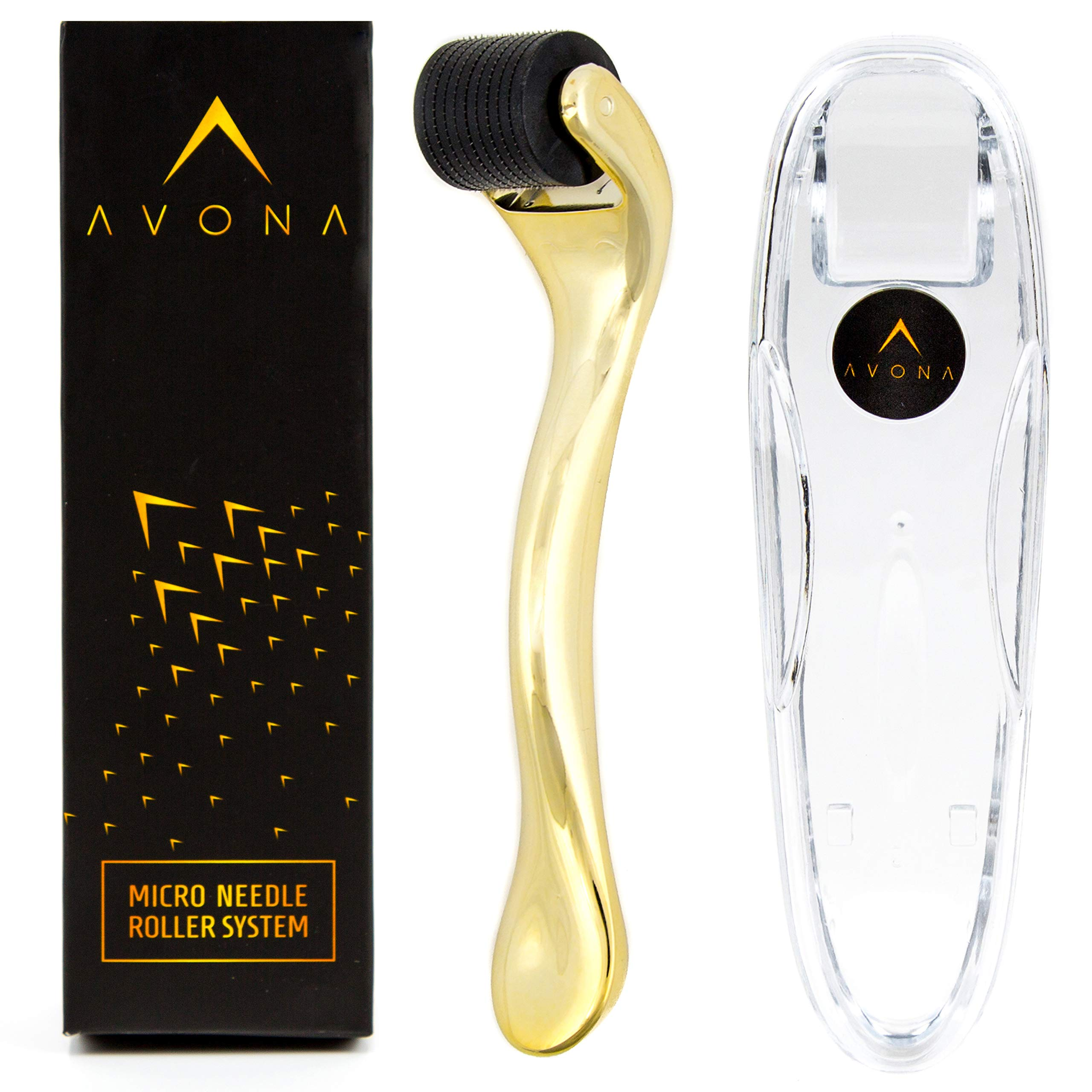 Best Derma Roller For Men and Women - 540 .25mm Titanium MicroNeedle - Exfoliating Cosmetic Skin Care Kit with Protective Case- by Avona