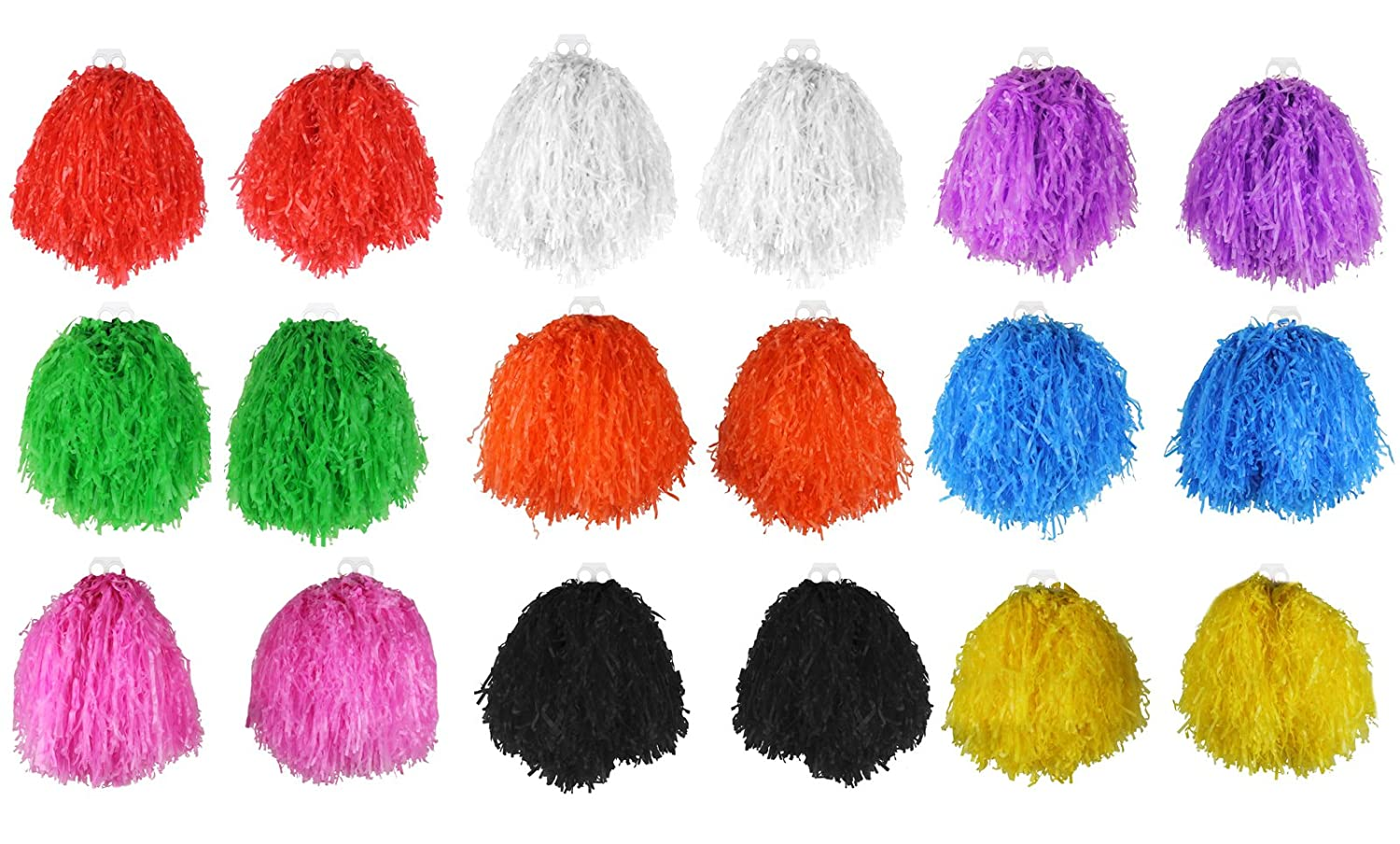 JUMBO USA POM POMS IN PAIRS CHEERLEADER DANCE SCHOOL SHOW FANCY DRESS ACCESSORY GIANT SIZE PAIR OF POMPOM SETS IN A CHOICE OF 9 BRIGHT COLOUR TASSELS (BLACK) (1 PAIR) ILOVEFANCYDRESS ILFD059-BK-PAIR