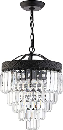 JONATHAN Y JYL9006B Wyatt 12 2-Light Crystal LED Chandelier Contemporary,Classic,Traditional Dimmable, Adjustable, for Foyer, Closet, Dining Room, Kitchen, Bronze Clear