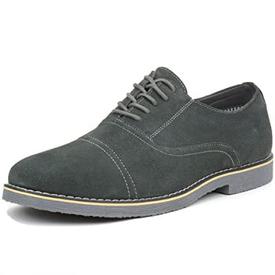 alpine swiss Aston Mens Lace Up Oxfords Genuine Suede Cap Toe Formal Dress Shoes | Oxfords