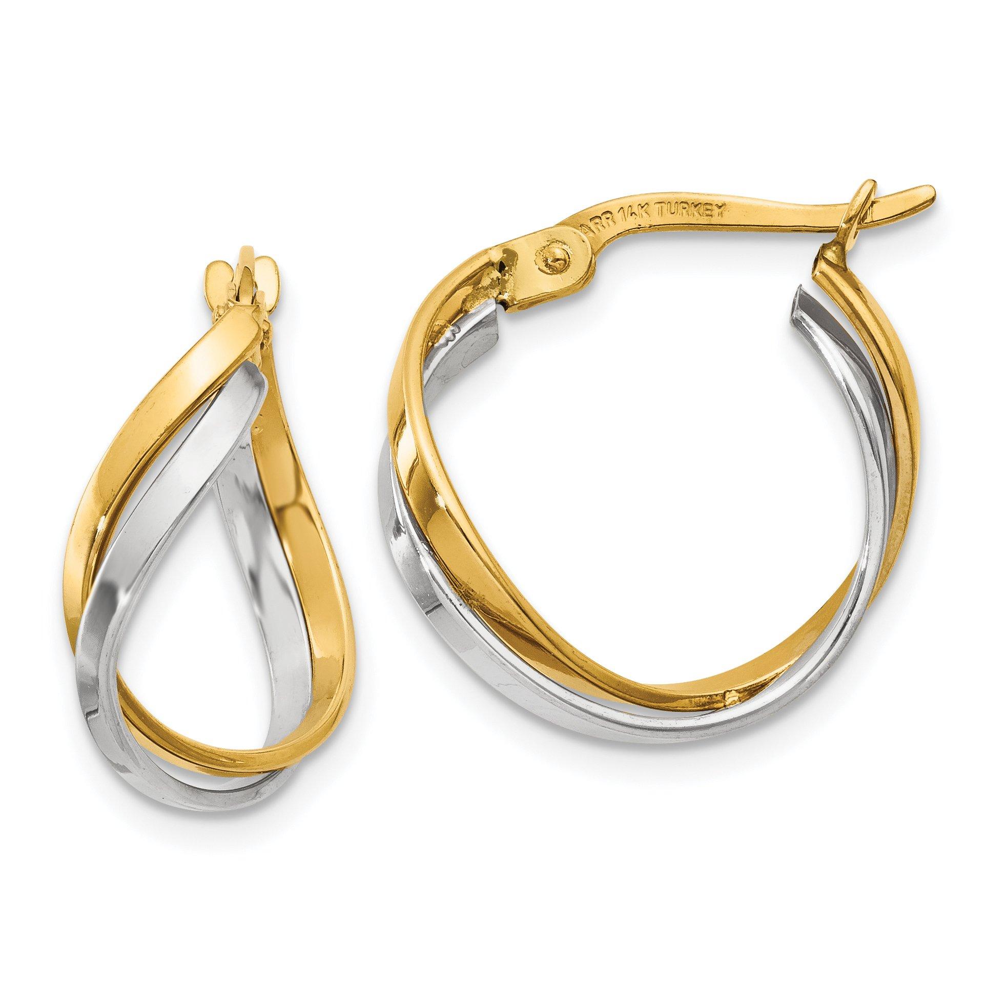 ICE CARATS 14k Two Tone Yellow Gold Twisted Hoop Earrings Ear Hoops Set Fine Jewelry Gift Set For Women Heart