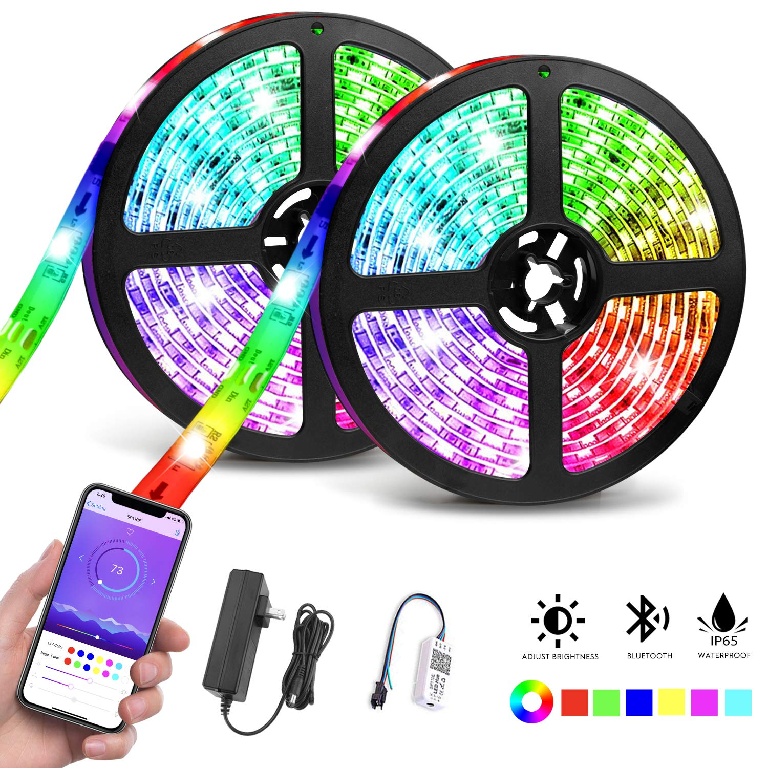 LED Strip Lights Waterproof, 32.8ft/10M Bluetooth LED Chasing Light with APP, Dream Color Changing RGB Rope Lights Kit, 12V 300 LEDs Flexible Led Strip Lighting for Bedroom Kitchen Home Decoration by Tudoccy