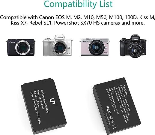 CELLONIC/® Cargador Dual LP-E12 Smart y R/ápido Compatible con Canon EOS 100D EOS M M10 M100 M2 M50 EOS Rebel SL1 PowerShot SX70 HS LC-E12 Cargador Doble/USB Cable de Carga Alimentaci/ón