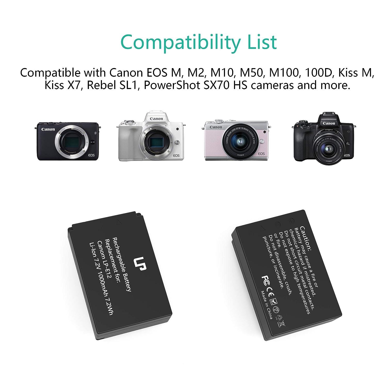 LP LP-E12 Battery Charger Set, 2-Pack Battery & Dual Charger, Compatible with Canon EOS M, M2, M10, M50, M100, 100D, Kiss M, Kiss X7, SL1 & More