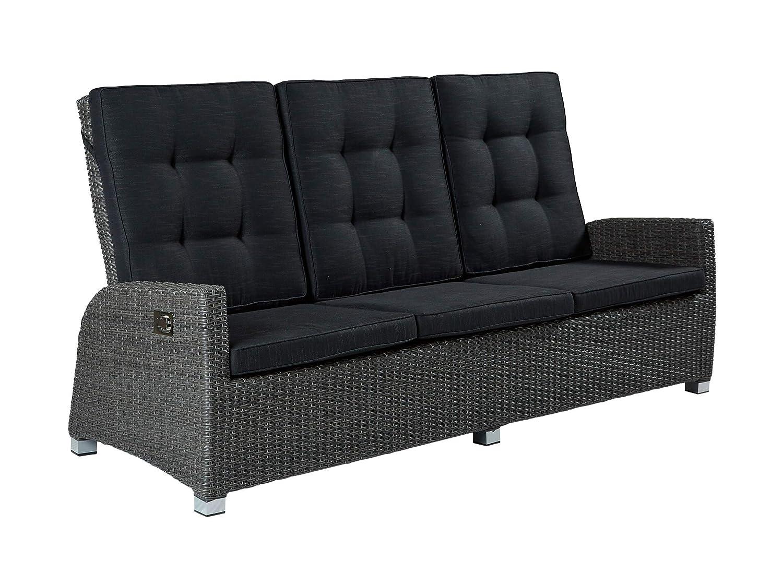 Barcelona 3er Sofa Polyrattan Dreisitzer Couch grau 210 x 90cm Wholesaler 148228 - Gartenmöbel Set Terrassensofa Couch in grau mit verstellbare Rückenlehne und Kissenauflagen
