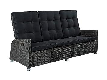 Barcelona 3er Sofa Polyrattan Dreisitzer Couch Grau 210 X 90cm