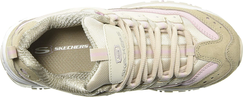Skechers Damen Energy-Ocean Tide Sneaker Beige Taupe Lavender Leather Taupe Mesh White Trim Tplv